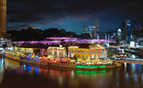 Nightlife at Clarke Quay Singapore Aerial