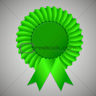 Green award ribbon rosette on gray background