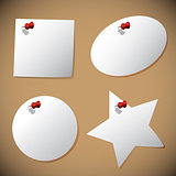 Set of note papers with pin