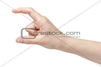 female teen hand to hold paper card