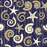 Seamless pattern with shells and stars
