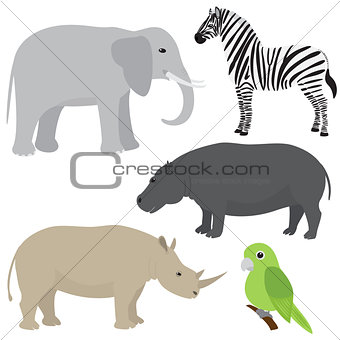 Set 1 of cartoon african animals