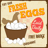 Fresh eggs vintage poster