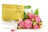 pink roses and box with gifts on a white background