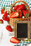 Strawberry in a basket.