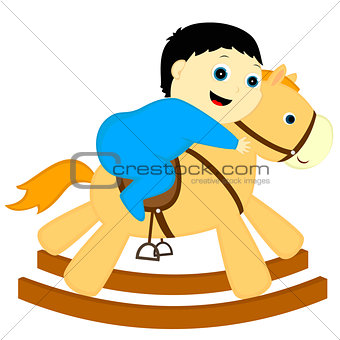a boy rides a horse-rocking chair