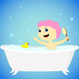 a girl in the bath
