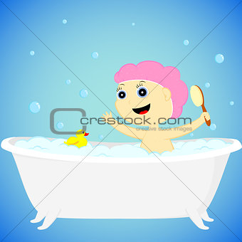 a girl in the bath