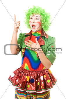 Portrait of surprised female clown