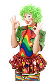 Portrait of happy female clown