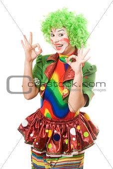 Portrait of happy female clown