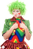 Serious female clown