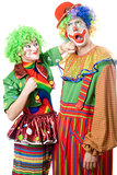 Female clown punching clown