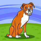 boxer purebred dog cartoon illustration