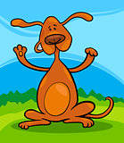 cute playful standing dog cartoon