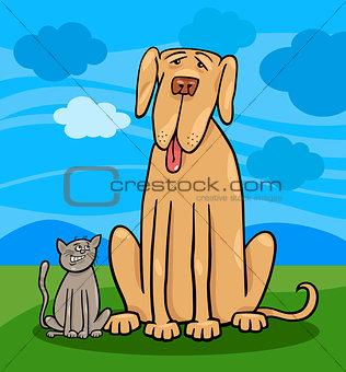 small cat and big dog cartoon illustration