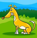 happy sitting dog cartoon illustration