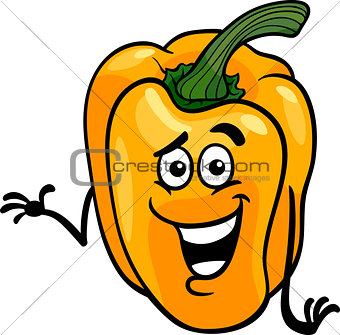 cute yellow pepper cartoon illustration