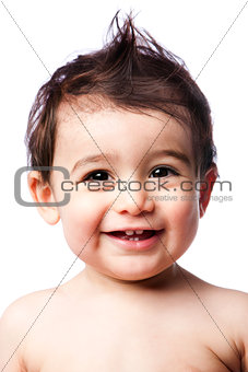 Teething baby toddler with hairstyle