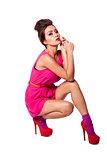 Beautiful fashion woman in pink
