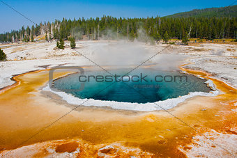 Blue Hot Spring Pool in Yellowstone National Park