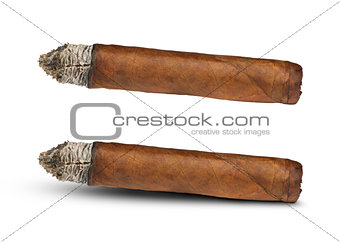 Studio shot cigar white isolated