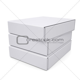 Three closed white box