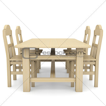 Wooden table and chairs