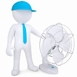 3d man with desktop fan