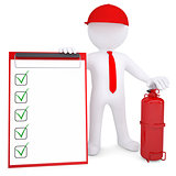3d man with fire extinguisher and checklist