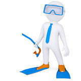 3d man with flippers and mask underwater