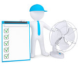 3d man with desktop fan and checklist