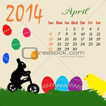 Calendar for 2014 April