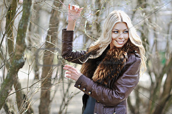 Beautiful blonde woman portrait outdoor