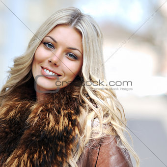 Beautiful girl face - outdoor portrait