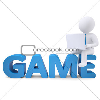 3d white man with laptop sitting on the word GAME