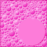 Pink Card with Shiny Water Drops and Label