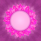  Pink Flower Label on Purple Background Card