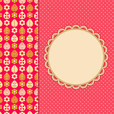 Pink Retro Card with Leaf Flower Pattern Part