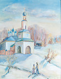 Winter landscape with a temple