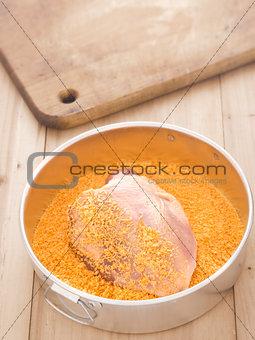 breaded raw chicken breast