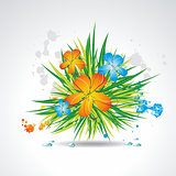 Flower vector background brochure template.