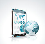 Illustration of a smart phone and globe 