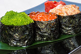 Three types of caviar.