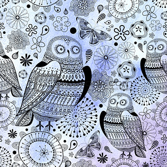 graphic pattern of owls and butterflies