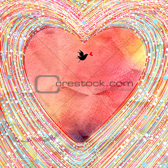 Bright watercolor background decorative heart and bird
