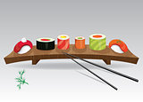 Sushi details of japanese cuisine - ingredients, fish, chopsticks and plate. Vector illustration