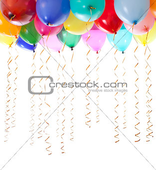 colourful balloons filled with helium and with golden streamers