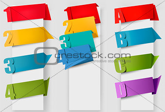 Abstract origami speech bubble with litters and numbers. Vector