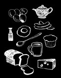 Chalkboard Vector set of Illustrations, Breakfast